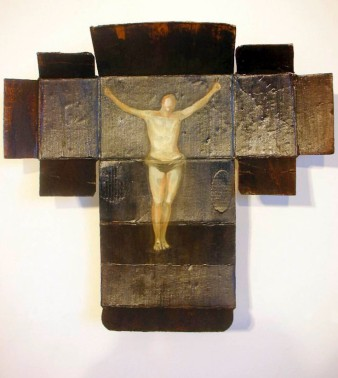 'CHRIST IN A BOX' - OIL ON CARDBOARD PACKAGING