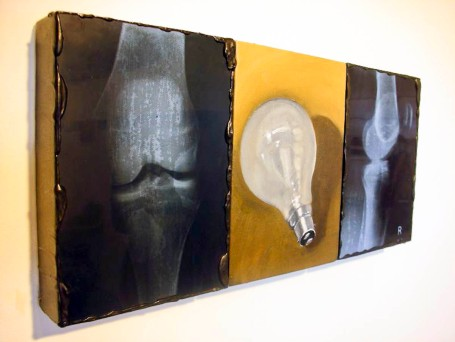 'LIGHT RAYS' OIL, ACRYLIC AND X RAYS ON CANVAS