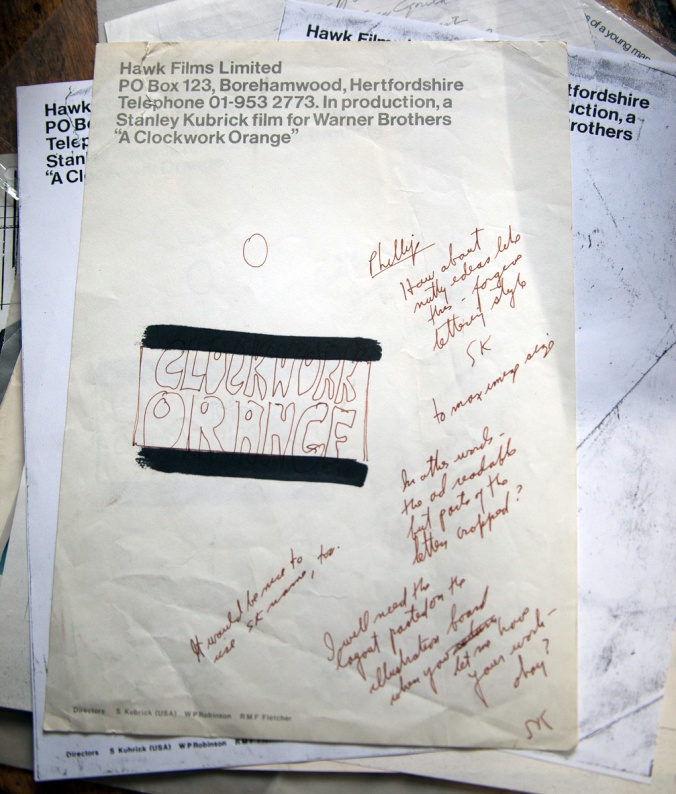 PHILIP CASTLE NOTES AND A SKETCH IN KUBRICK'S HAND
